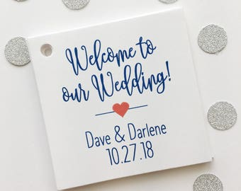Welcome to our Wedding Printed Cardstock Wedding Tags, Wedding Favor Tags, Favor Tags, Party Favor Tags (SQ-219)