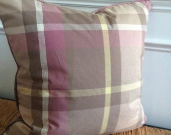 Tan Plaid Pillow Cover 20 x 20 inch Pillow Cover Tan Pillow Cover Plaid Pillow Cover Brown Purple Plaid Pillow Cover Neutral Home Decor