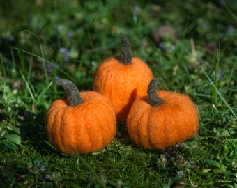 pumpkins needle felted handmade wool trio orange #001
