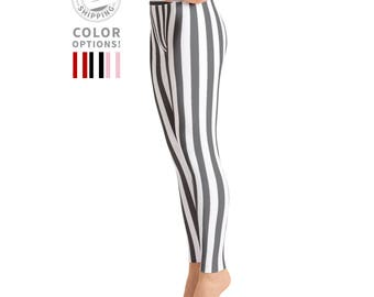 White & Gray Striped Leggings | Wild Leggings | PIlates Leggings | Nautical Leggings | Gray Leggings | Yogawear | Yogagear | Loopy Jayne