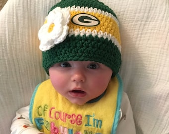 Crochet Baby Hat, Baby Girl Hat, Crochet Green Bay Yellow and Green Football Hat, Crochet Baby Girl Hat. Baby Football Hat, Newborn Hat