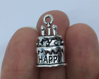 2 Happy Birthday Cake Charms Antique Silver - SC403