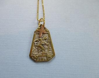 Saint Christopher Assemblage Necklace - Saint Christopher Religious Medal - Pendant Necklace - Religious Jewelry - Catholic Gifts