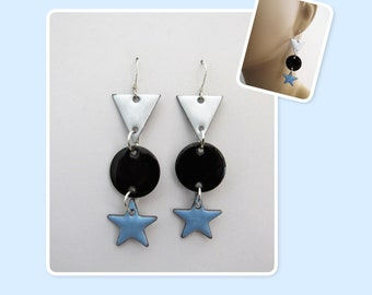 White, Black and Sky Blue Triangle, Circle and Star Enamel Sterling Silver Long Geometric Earrings