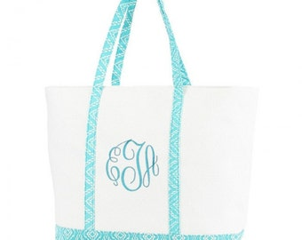 Personalized Canvas Tote,  Beach Bag Aztec Print, Bridesmaids Gifts,  Monogrammed Tote,  Embroidered Tote, Turquoise Tote