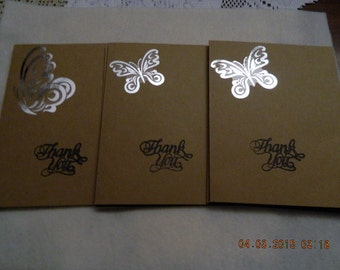 Set of 6 Handmade Greeting Cards, Thank You Cards, Brown Cardstock, Kraft A-2, Butterfly, Paper Products, Stamped Cards