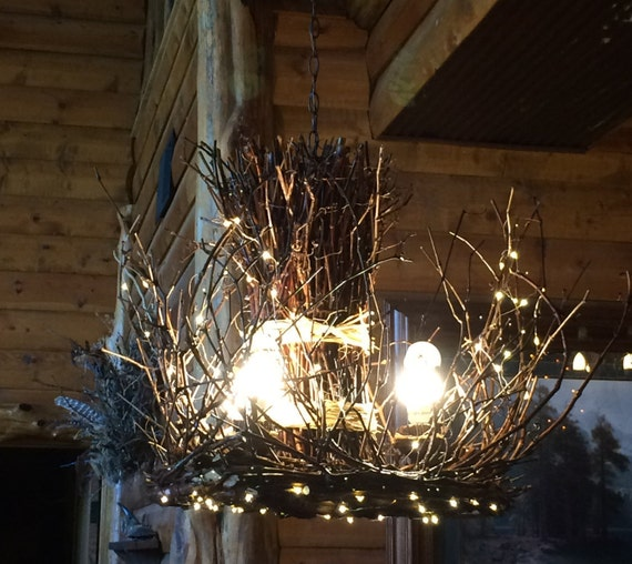 Just Reduced Rustic Handmade 3 Bulb Hanging Light Fixture Or: Raven Rock 3 Light Rustic Twig Chandelier Branch