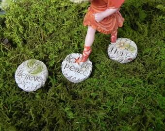 Fairy Garden Stepping Stones set of 3, miniature for terrarium, fairy garden accessories, miniature garden accessory, hope believe peace