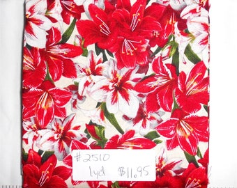 Fabric-1 yard piece-Christmas/Xmas/Winter Fabric-Amaryllis/Christmas Lily/Lilies/red/white/green/yellow/packed holiday floral(#2510)-Kaufman