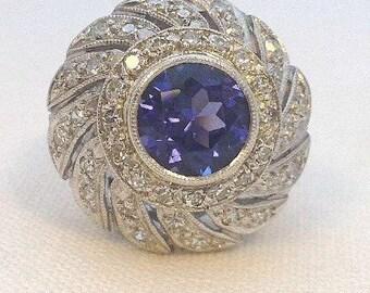 Vintage 1950s Tanzanite and Diamond Cocktail Ring
