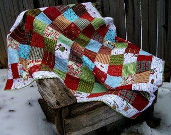 Christmas Lap Quilt Christmas Baking Theme Quilted Winter Quiltsy Handmade FREE U.S. Shipping