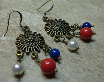 Chandlier Earrings, Red, White, Blue Swarovski Crystal Pearls, Brass Pearl Earrings, Spiritcatdesigns, Gift Uner 10