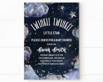 Twinkle twinkle little star baby shower, star baby shower invitation, twinkle twinkle little star invitation, twinkle twinkle little star
