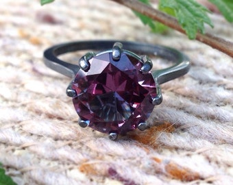 10mm Alexandrite Basket-set Sterling Silver Ring, Color Change Alexandrite, Engagement Ring, Wedding Ring, Blackened Patina