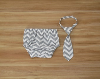 Boy First Birthday Outfit, Newborn Photo Outfit, Cake Smash Clothing, Neck Tie and Diaper Cover, Gray Chevron
