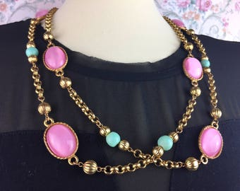 Carole Duplaise - Red and Green - Loooooooong Gilt Rolo Chain Necklace52 inches with Pink Cabochon and Gilt beads N40