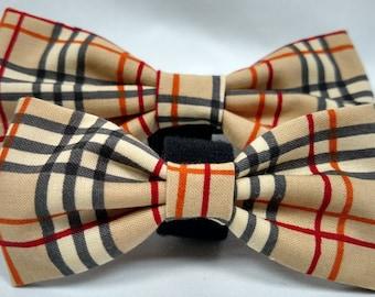 Fall Plaid Bow Tie - Dog Collar accessory