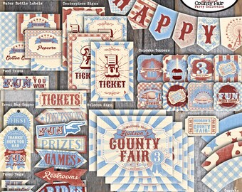 County Fair Party | Country Fair Party | County Fair Party Decorations | Country Fair Party Decorations | Set Kit Collection | Printable