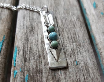 Arrow Necklace- Silver and Turquoise Arrow Pendant, on your choice of chain