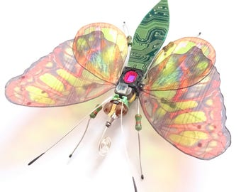 The Mossy Woodland Butterfly, Fantasy Circuit Board Insect by Dewleaf, Julie Alice Chappell