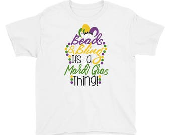 Beads and Bling it's a Mardi Gras Thing Youth Short Sleeve T-Shirt