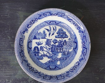 Antique 1832 Blue Willow Bowl Ridgeway of Staffordshire England 7 1/4""