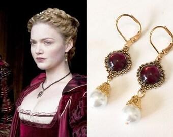 Lucrezia Borgias Amethyst Pearl Gold Filigree Circle Renaissance Tudors Reign Earrings