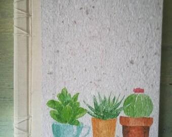 Garden Journal, Journal A5 in recycled paper, notebook, Bullet Journal, Cactus