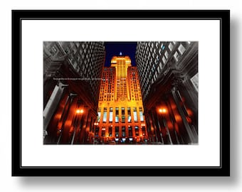 CHICAGO Board Of Trade Building, Color Photograph, Chicago night photography