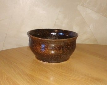 handmade brown and orange serving bowl for fruit or salads