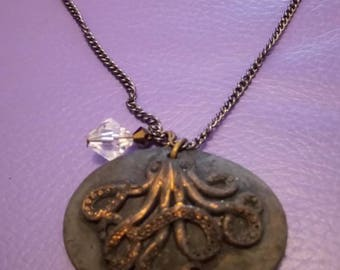 Liquid latex black and bronze octopus cameo necklace steampunk