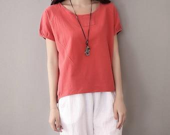 Women cotton and linen t-shirt – simple short sleeved linen women t-shirt