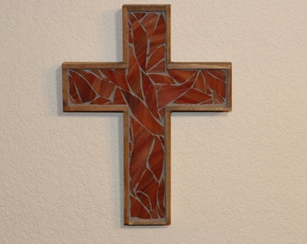 Decorative Cross / Baptism Gift / Wooden Cross / Wall Cross / Christian Gift / Religious Gift / Stained Glass Cross