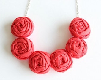 Coral necklace, Coral fabric flower necklace, Coral statement necklace