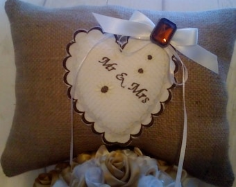 ring bearer pillow hessian 3D embroidered heart Mr & Mrs