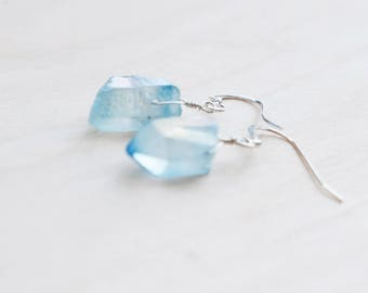 Quartz Earrings, Blue Earrings, Blue Quartz, Quartz Jewellery, Raw Crystal Earrings, Quartz Point, Wire Wrapped, Boho Earrings, Gift for Her