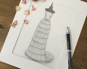 Custom wedding dress / bridal gown illustration. Wedding gift, one year paper anniversary, bride portrait. ***Introductory Prices***
