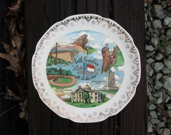 Souvenir Plate North Carolina Vintage Decorative Collectible