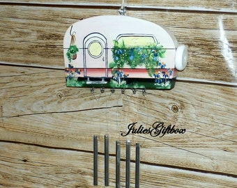 Camper Wind ChimeHand Crafted Wood Travel Trailer Camper Wind Chime Hand Painted-Indoor/Outdoor-Mothers Day-One of a Kind