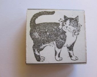 vintage rubber stamp - CAT - black and white cat with bow and flowers - circa 1986 Inkling Stamp Co
