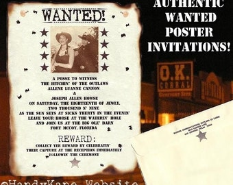 Photo Western Wanted poster Wedding Invitations Response Cards RSVP Qty 50
