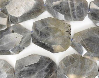 "25-35mm faceted grey labradorite freeform slab nugget beads 15.5"" strand 38545"