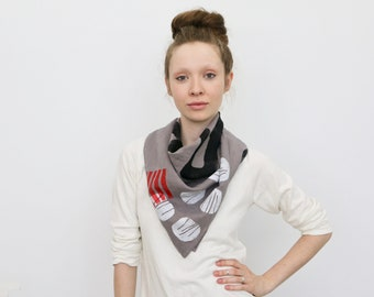 Organic Linen Block Print Scarf - Lavender with White Shells/Black Snakes/Red Stripes