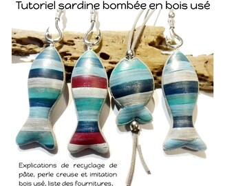 tutoriel polymère fimo  tuto imitation bois usé sardine bombée coloris pâte recyclage vieille pâte technique perle creuse premo cernit