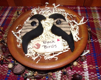 Primitive Whimsical Country Harvest Black Birds CROWS Tucks Bowl Fillers Ornaments Ornies (CROWS-006)