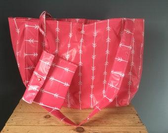 Shoulder bag shopping bag beach bag shopper pink from nylon