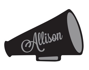 Megaphone Monogram Vinyl Decal Icon - 2 color - Choose from 14 colors in various sizes and fonts