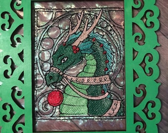 Framed Christmas Dragon Embroidery