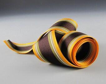 """1.5""""  GROSGRAIN RIBBON Striped Brown Gold Khaki White 20 Yard Roll WHOLESALE"""