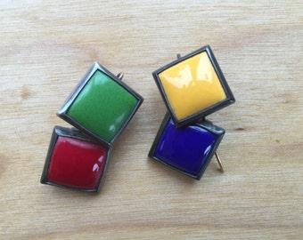80s colorblock earrings -- 262